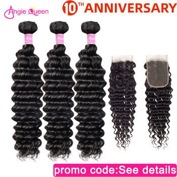 Deep Wave hair bundles with closure Malaysian non Remy Hair Bundles With Closure 100% Human Hair closure with 4 Bundles 26 inch