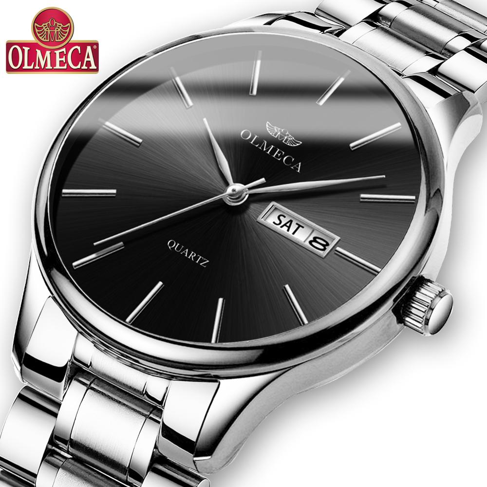 OLMECA Men Watches Waterproof Luxury Stainless Steel Watch Military Quartz Wristwatches Saat Relogio Masculino Drop-Shipping