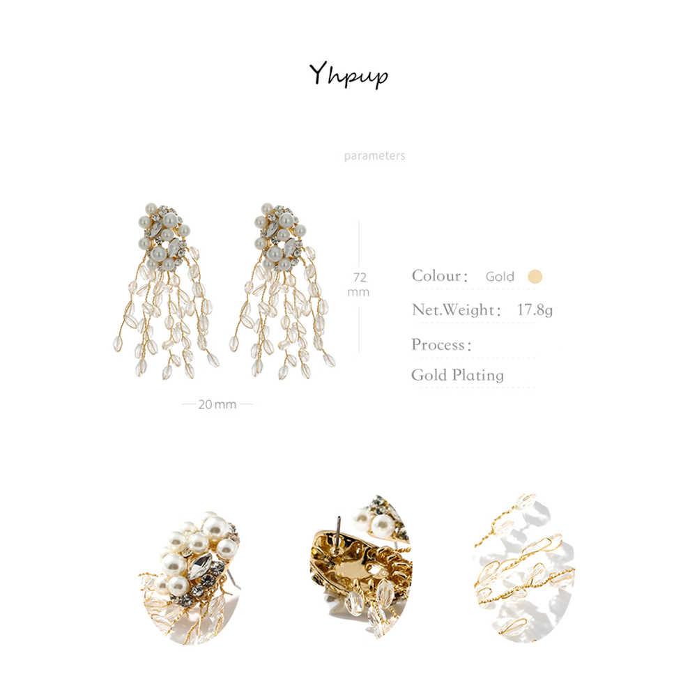 Yhpup requintado imitação pérolas borla brincos strass cristal brincos para festa de casamento feminino jóias presente oorbellen novo