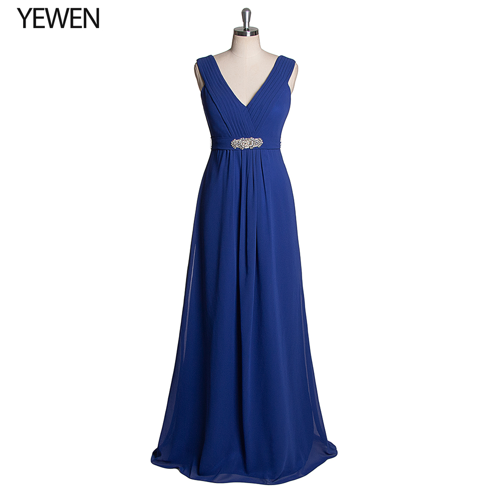 Royal Blue Bridesmaid Dresses Double V-Neck Crystals Sashes Elegant Long Chiffon Dresses For Wedding Party Vestidos De Madrinha