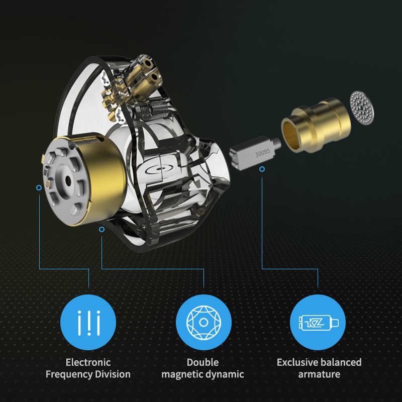 KZ ZSN PRO 1BA + 1DD Hybrid w ucho słuchawka hi-fi DJ Monito sportowe słuchawki do biegania słuchawki douszne KZ ZS10 ZS6 KZ BA10 KZ AS10 ZSN