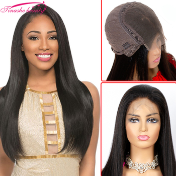 Tinashe Beauty straight lace front human hair wig Brazilian Remy lace frontal closure wigs pre plucked  for women Natural Color
