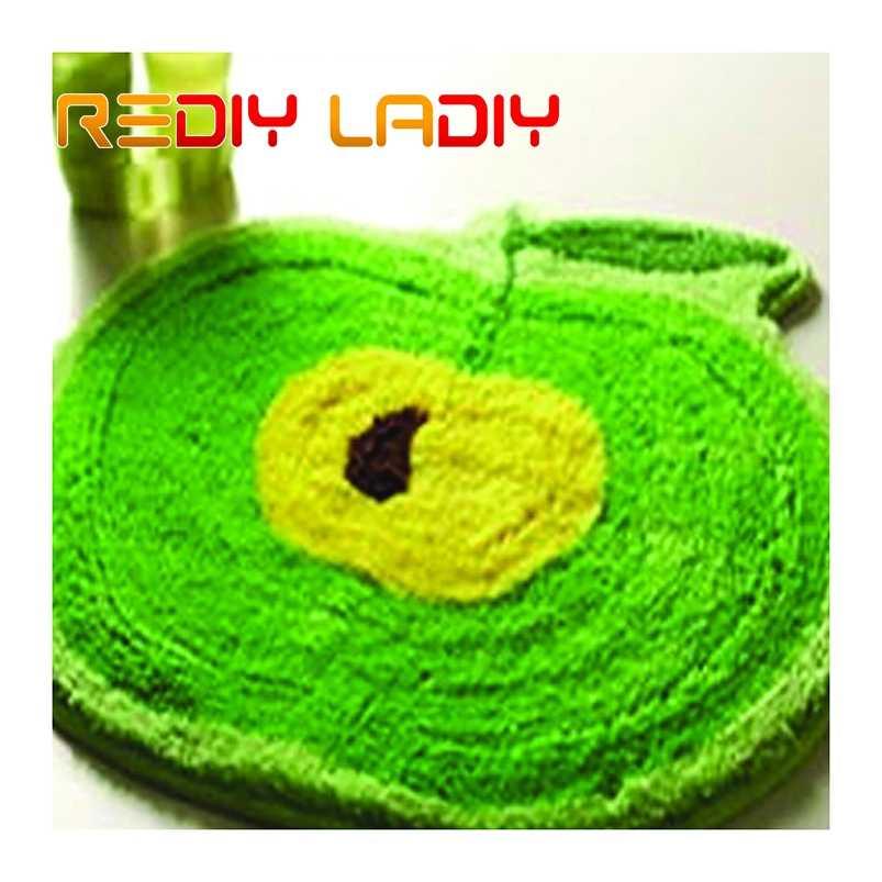 ラッチフック敷物キットかぎ針カーペットラググリーンアップルアクリル糸印刷されたカラーキャンバスクッションマットかぎ針タペストリーソファ装飾