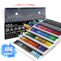 Watercolor Art Markers Brush Pen Dual Tip Fineliner Drawing for Calligraphy Painting 12/48/60/72/100/120 Colors Set Art Supplies