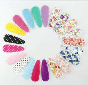 Image 1 - 70pcs pack fabric Snap Clip coloful floral Hair clips,Hair Accessoies,Fabric covered hairpins for girls