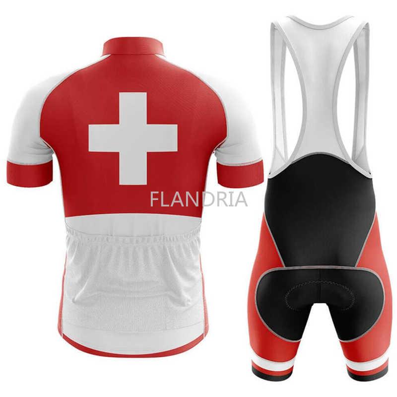 Nieuwe Rode Zwitserland Fietsen Jersey Set Zomer Fiets Kleding Maillot Ropa Ciclismo Mtb Fiets Kleding Sportkleding Pak Fietsen