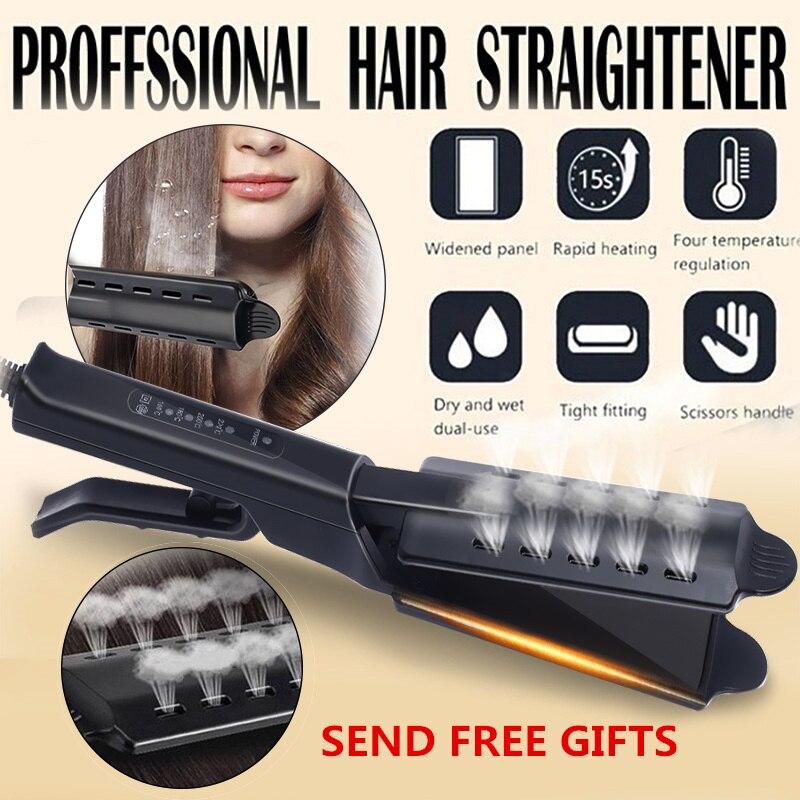 Hair Straightener Four-gear Temperature Adjustment Ceramic Tourmaline Flat Iron Steam Hair Straightener Widen Panel Hair Curler