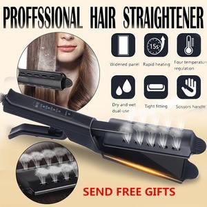 Hair Straightener Four-gear Temperature Adjustment Ceramic Tourmaline Flat Iron Women Hair Straightener Widen Panel Hair Curler(China)