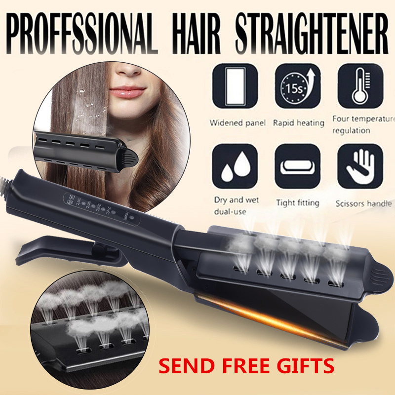 Professional Electric Hair Straightener Four-gear Straightening Hair Flat Iron Steam Ceramic Vapor Hair Styling Tool 100-240V