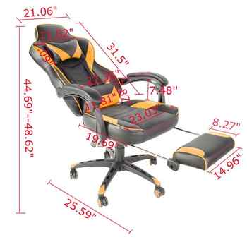 C-type Office armrest Foldable Nylon Foot Racing Chair with Footrest Games Chair Reclining Rotatable Seat