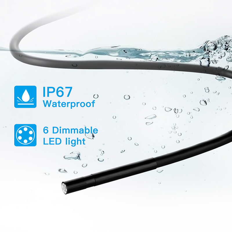 5.5mm Lens Hd1920p 5MP WiFi Industrial Electronic Tube Endoscope IP67 Waterproof 2 / 5 /10m Cable 6 Adjustable Integrated Lights