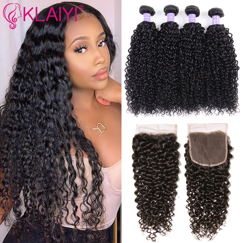 Klaiyi Hair Malaysia Curly Hair Bundles With Closure 4PCS Swiss Lace Closure With 3 Bundles Remy Human Hair Dark Black