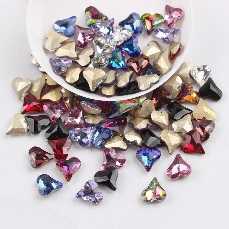 Все смешанные цвета, 30 шт, стразы для дизайна ногтей, сделай сам, без горячей фиксации, стеклянные камни для ногтей, драгоценные камни для 3D украшения для ногтей - Цвет: 8mm Tip Heart