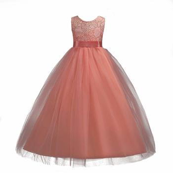 Girls Lace Dress Long A Line Tulle Wedding Pageant Party Prom flower girl kids evening Dresses Ball Gown robe enfant mariage princess fluffy dress for girls pageant dress floral kids evening ball gown long girls prom dress pink party dress for girls