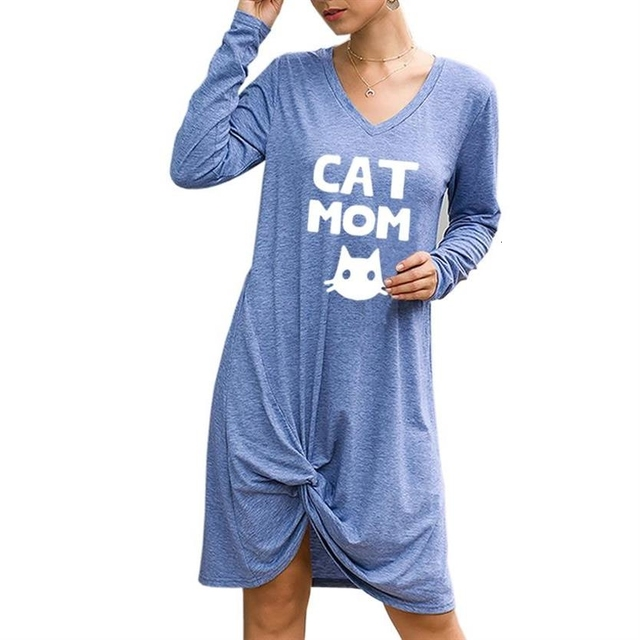 Irregular Loose Long Sleeve Dress Cat Mom