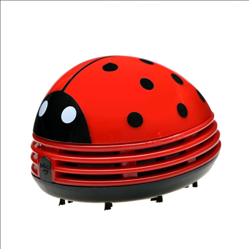 Mini Cute Ladybug Desktop Vacuum Cleaner Dust Collector For Home Office Table Cleaning Brush