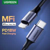 Ugreen mfi usb c para relâmpago cabo para iphone 11 pro xs max x 8 18 w pd carregador rápido cabo de dados para macbook ipad pro usb c cabo