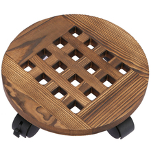 14 inch Round Wheeled Wooden Planter Caddy Plant Stand Indoor Outdoor Flower Pot Mover