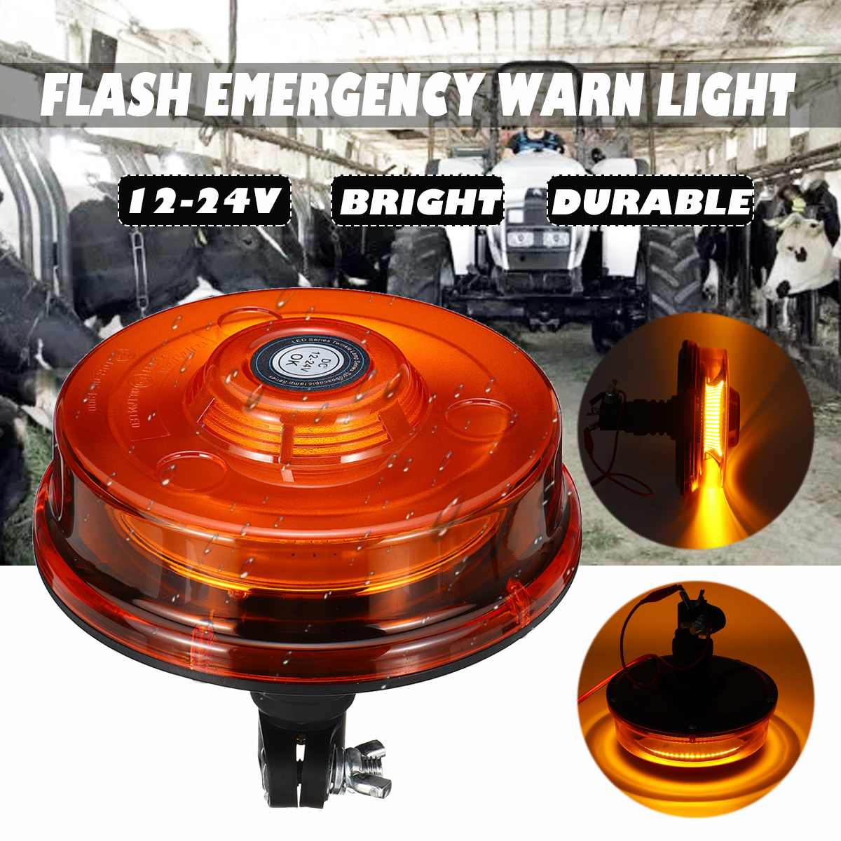 24W 12-24V Car Truck Strobe Warning Signal Light 72 LED Flashing Emergency Lights Beacon Lamp For Agricultural Vehicle Tractor