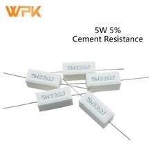 5W Ceramic Cement Resistor Ohm 5% 0.1R 0.5R 1R 2R 3R 4.7R 10R 20R 50 Ohm 100 Ohm 6.8k 10k 12k 100k Resistor 10Pcs