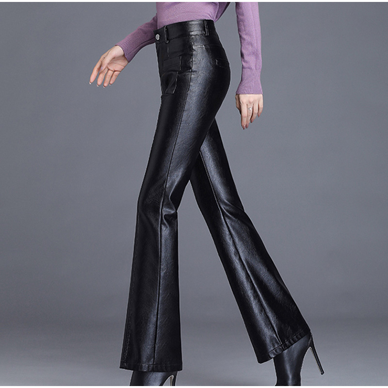 Image 2 - Plus Size Pockets Stretch Pu Leather Flare Pants 3Xl 4Xl Winter  Women Office Ladies Workwear Bell Bottom Pu Long Trousers MujerPants