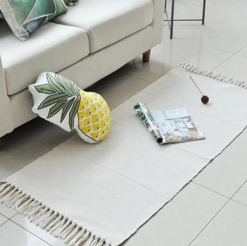 Japanese White Hand Woven Cotton Linen Carpet Tassel Bedside Rug Geometric Floor Mat Living Rooms Tapestry Bedroom Home Decor