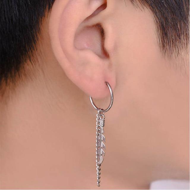 925 srebrna fala męska okrągły łańcuszek kolczyki uszu szpilki Hip Hop europejska i amerykańska moda uliczna osobowość netto czerwony sam