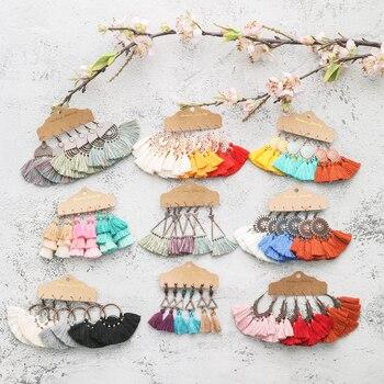 Multiple Colors Boho Ethnic Tassel Dangle Drop Earrings for Women Female Fashion 2020 Earrings Sets Charm Jewelry Accessories