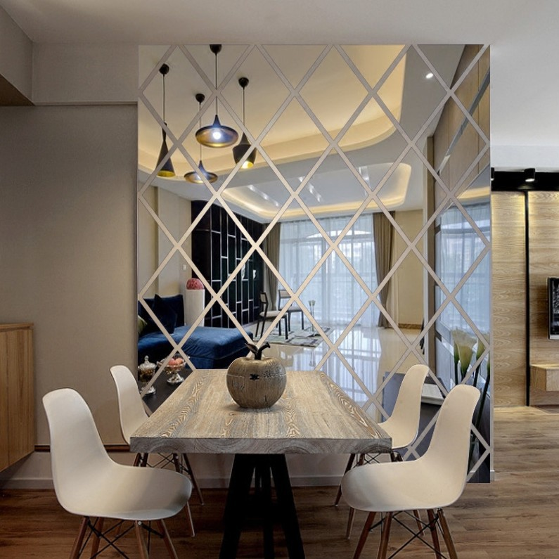 Espelho acrílico decoração adesivos sala de estar quarto tv sofá fundo diamante combinação livre adesivos de parede