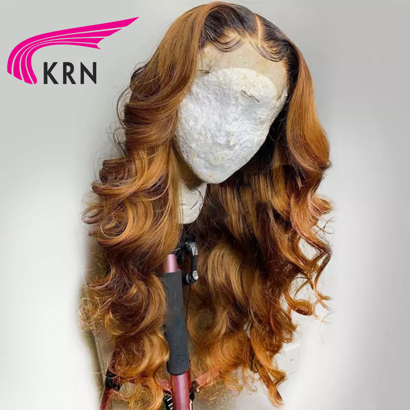 KRN 13x6 Lace Front Wig Brazilian Lace Front Human Hair Wigs  Wavy Pre Plucked  Honey Blonde Remy Ombre Color Glueless Wig With