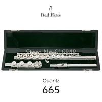 Hot Pearl Quantz 665 Flute High Quality Silver Plated 17 Keys Flute Open Hole E Mech Flute Musical Instrument
