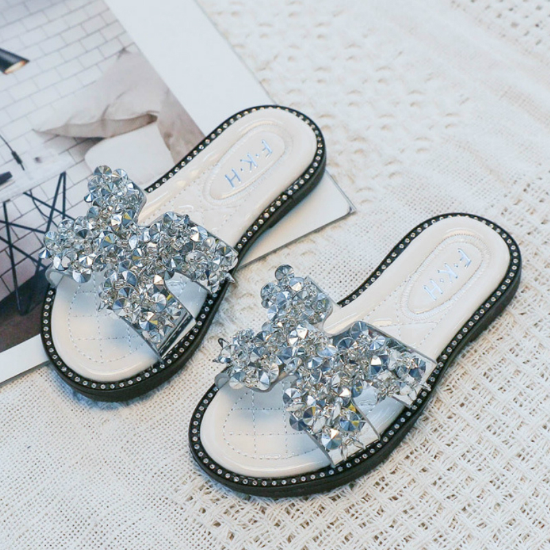 Little Girls Casual Shoes Summer Children Kids Baby Girls Bowknot Flat Slipper Baby Girls Sandals Slides For Girls Size 27-36