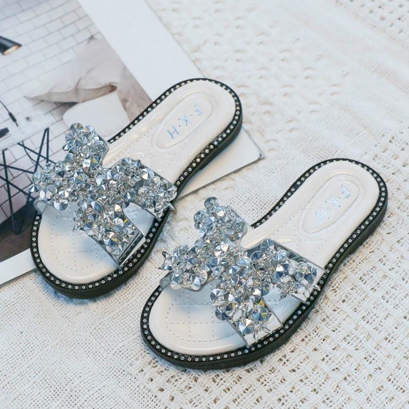 Little Girls Casual Shoes Summer Children Kids Baby Girls Bowknot Flat Slipper Baby Girls Sandals Slides For Girls Size 27-36