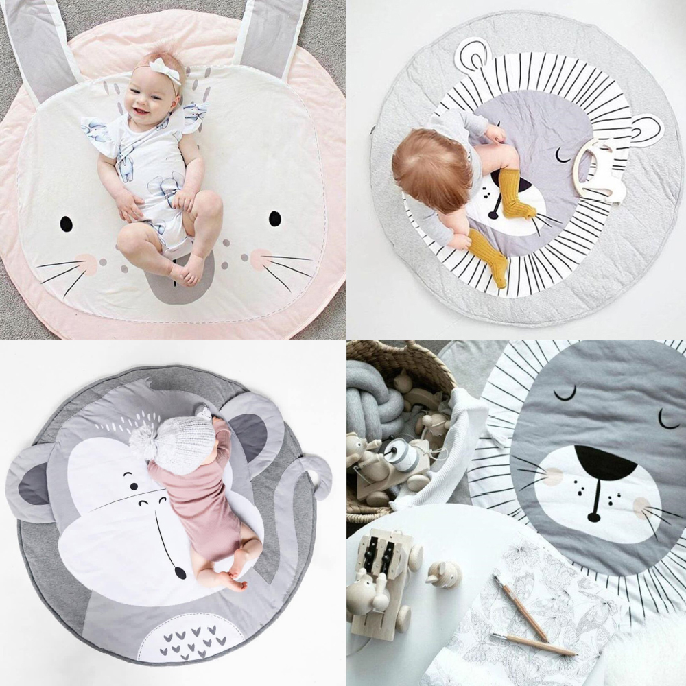 INS Kids Carpet Baby Play Mat Crawling Developing Mat For Children Animal Round Floor Rugs Cotton Game Pads Kids Room Decor 90CM
