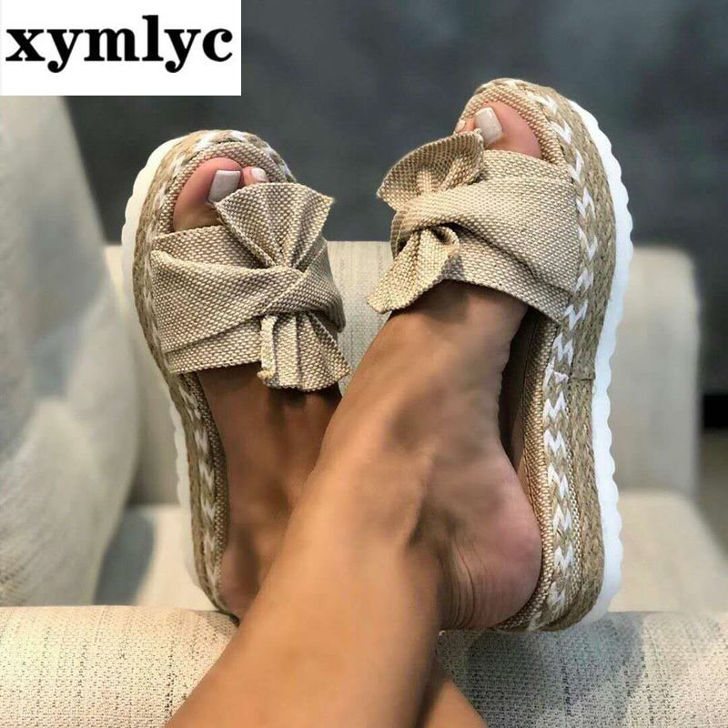 Women Bowknot Sandals 2020 Summer Casual Daily Comfy Slip On Platform Sandals Women's Beach Open Toe Breathbale Weave Sandals