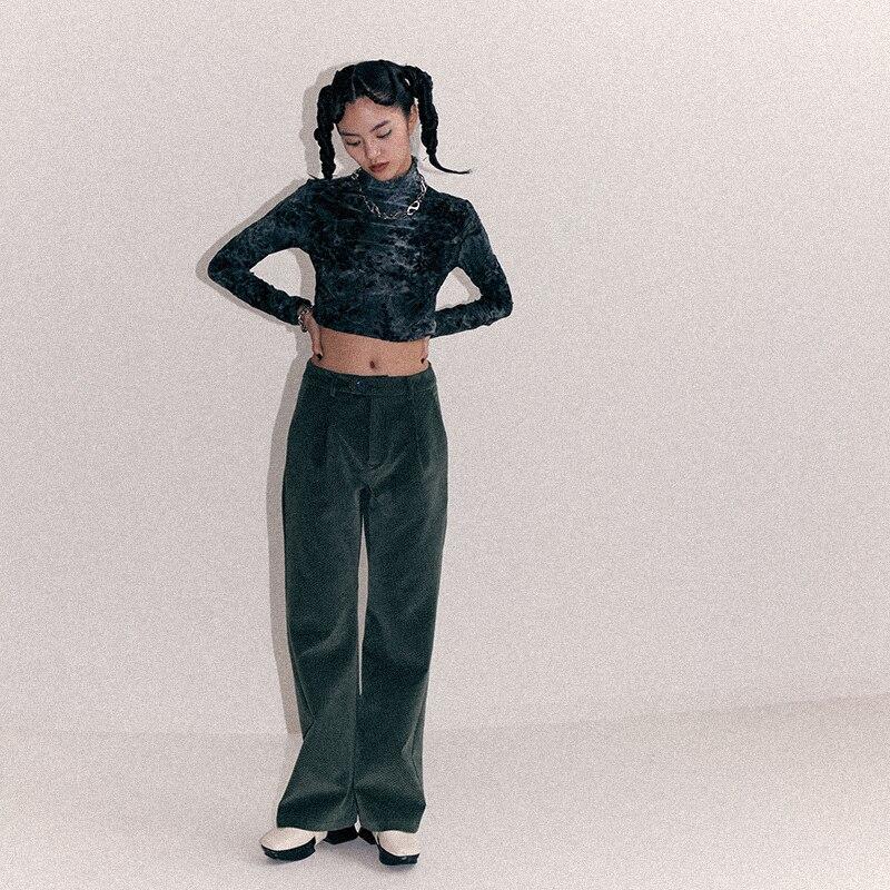 [EAM] Высокая талия Флокирование черно зеленые длинные широкие брюки новые свободные брюки женские модные весенне осенние 2019 1B912 - 5