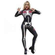 Goocheer  Rose Mechanical Bone Costume Scary Halloween Costumes For Women Skeleton Skull Floral Butterfly Bodysuit