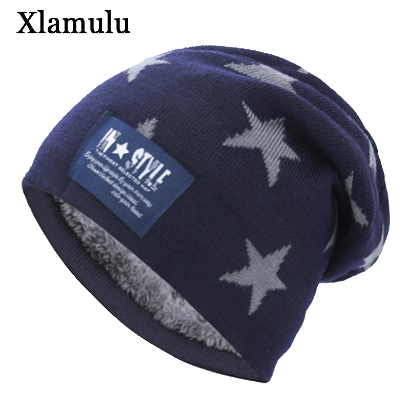 Xlamulu Five-star   Skullies     Beanies   Knitted Hat Winter Hats For Men Female   Beanie   Warm Gorros Bonnet Caps Women's Winter Hats Cap