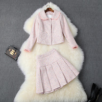 New 2019 winter women girls lolita style pink tweed jacket ruffles peter pan collar plaid mini skirt suit cute two piece outfits