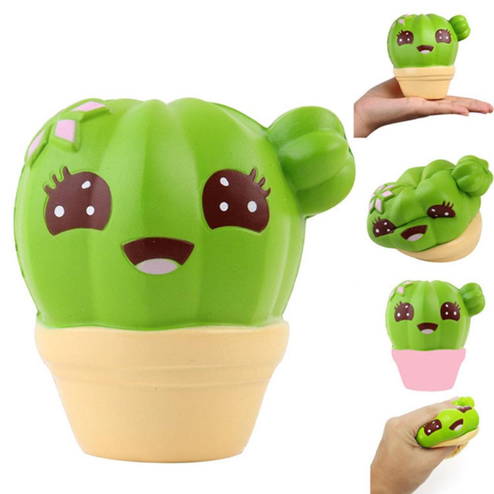 Cartoon Cactus Plant Pot Super Slow Rising Scented Stress Reliever Anti-stress Squash Toy Stress Relief Kids Clay Toy
