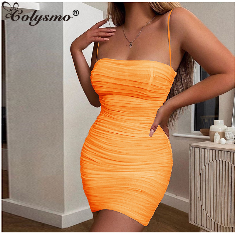 Colysmo Double Layers Mesh <font><b>Dress</b></font> 2019 Summer Women Bodycon <font><b>Dress</b></font> Elegant Ladies Birthday Party Clothing <font><b>Sexy</b></font> Ruched <font><b>Dress</b></font> <font><b>Orange</b></font> image