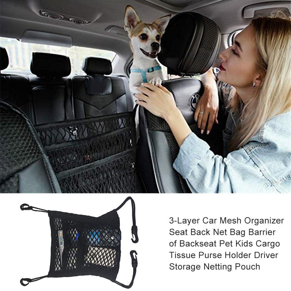 Cargo Tissue Purse Holder Seat Back Net Bag 3-Layer Car Mesh Organizer Barrier of Backseat Pet Kids Driver Storage Netting Pouch