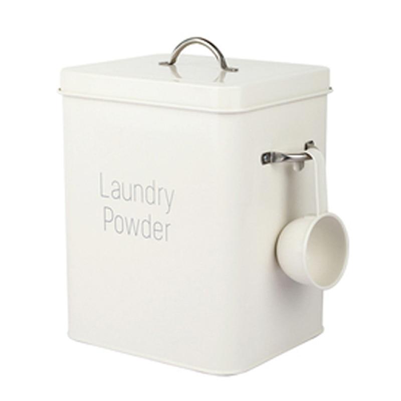 Beautiful Powder Coating Metal Zinc Laundry Powder Boxes Storage With Scoop White