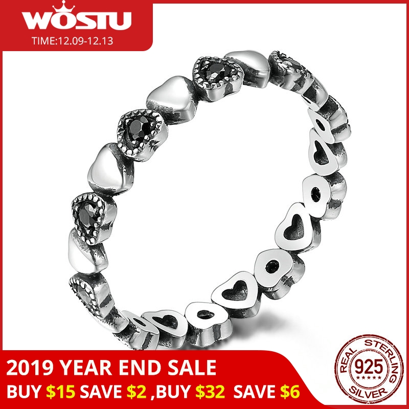 WOSTU Hot Sale 925 Sterling Silver Forever Love Heart, Black CZ Stackable Rings For Women Fine Brand Jewelry Gift CQR140