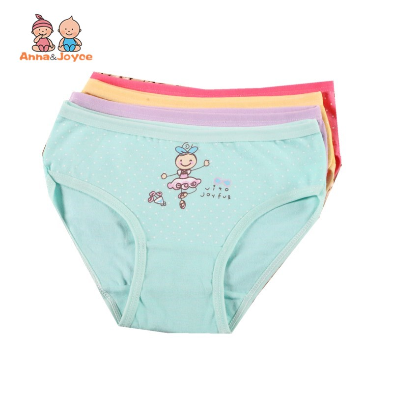 4Pc/Lot Girls Briefs Kids Underwear Panties Triangle Pants Suitable for 2-10 Years 3
