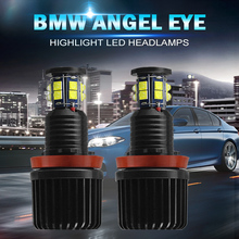 цена на A pair H8 120W LED Angel Eyes Marker Six-sided for Excellent LED Chips Canbus For BMW E60 E61 E71 E70 E90 E91 Car Headlamps 12V