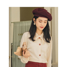 INMAN Spring Autumn Young Literary Style Cute Bow Neck Solid Women Pullover