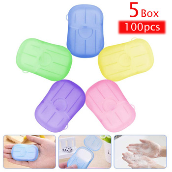 100 PCS Portable Disposal Paper Soap Mini Scented Slice Sheets Soap Leaves Travel Antibacterial Hand Washing Tablets