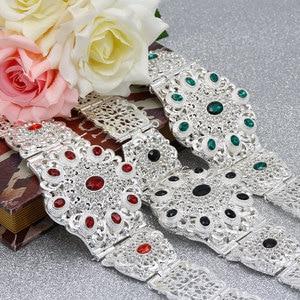 Image 4 - SUNSPICEMS Customiz Frauen Kristall Metall Hochzeit Gürtel Silber Farbe Marokko Taille Kette Spiel Kaftan Kaukasischen Traditionellen Schmuck