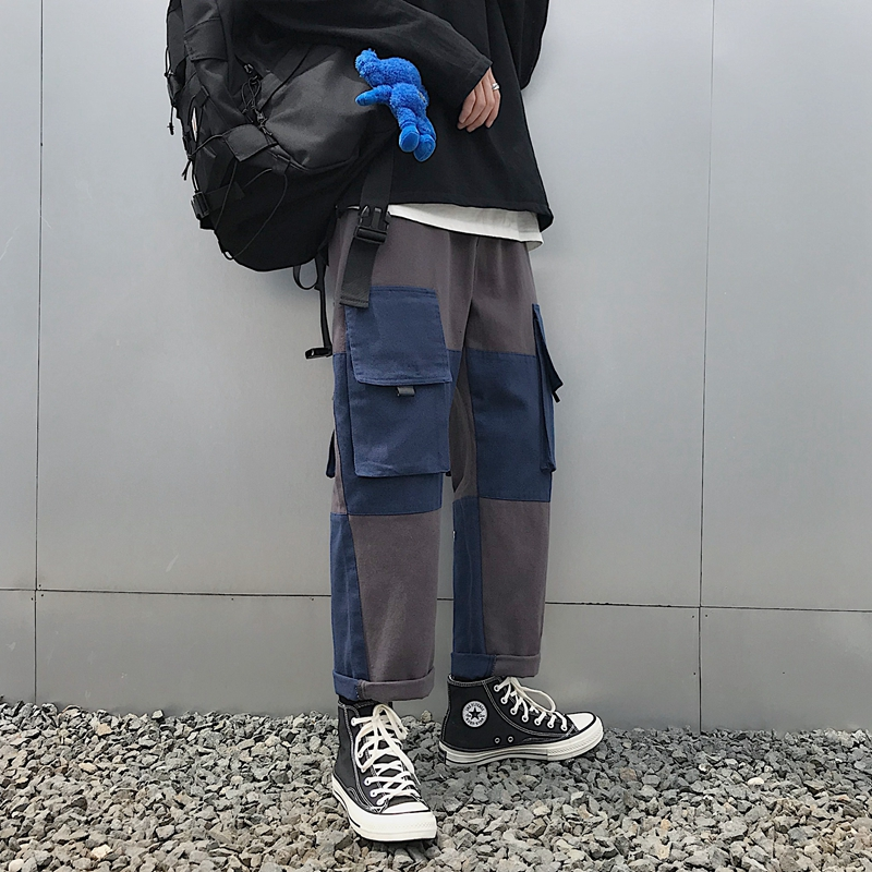 Side Pocket Cargo Pants Men Hip Hop Loose Grey Black Color Big Sizes 3xl 4xl 2019 Autumn Winter Patchwork Trousers